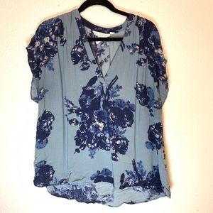 Blue Floral Flowy H&M LOGG Blouse Size 14
